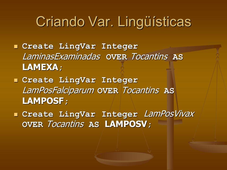 Criando Var. Lingüísticas Create LingVar Integer LaminasExaminadas OVER Tocantins AS LAMEXA ; Create LingVar Integer LaminasExaminadas OVER Tocantins