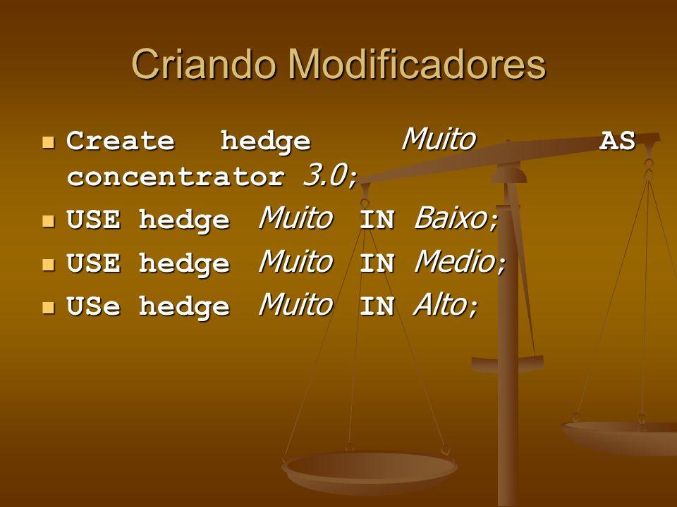 Criando Modificadores Create hedge Muito AS concentrator 3.0 ; Create hedge Muito AS concentrator 3.0 ; USE hedge Muito IN Baixo ; USE hedge Muito IN