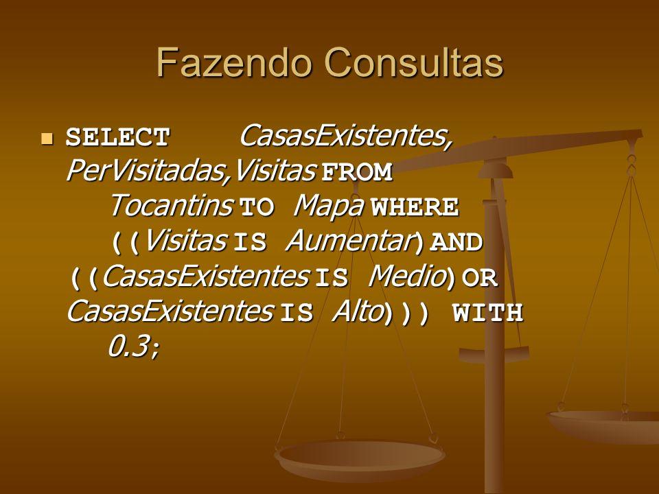 Fazendo Consultas SELECT CasasExistentes, PerVisitadas,Visitas FROM Tocantins TO Mapa WHERE (( Visitas IS Aumentar )AND (( CasasExistentes IS Medio )O