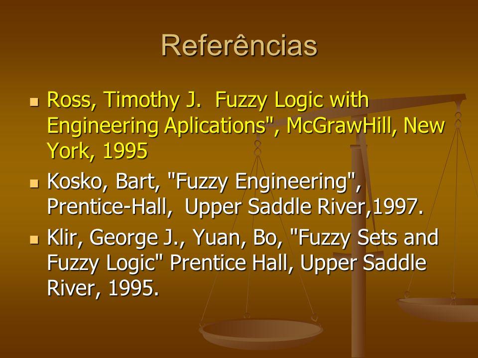Referências Ross, Timothy J. Fuzzy Logic with Engineering Aplications