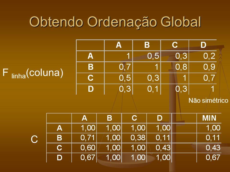 Consenso Como obter um consenso de vários especialistas em um universo de alternativas possíveis Como obter um consenso de vários especialistas em um universo de alternativas possíveis Seja r ij a a preferência da alternativa xi em relação a alternativa x j Seja r ij a a preferência da alternativa xi em relação a alternativa x j r ij =1 significa que x i e definitivamente melhor que x j r ij =1 significa que x i e definitivamente melhor que x j r é recíproca (r ij +r ji =1, r ii =0) r é recíproca (r ij +r ji =1, r ii =0) Podemos então desenvolver uma medida do consenso sobre a matriz R criada pelo grupo Podemos então desenvolver uma medida do consenso sobre a matriz R criada pelo grupo