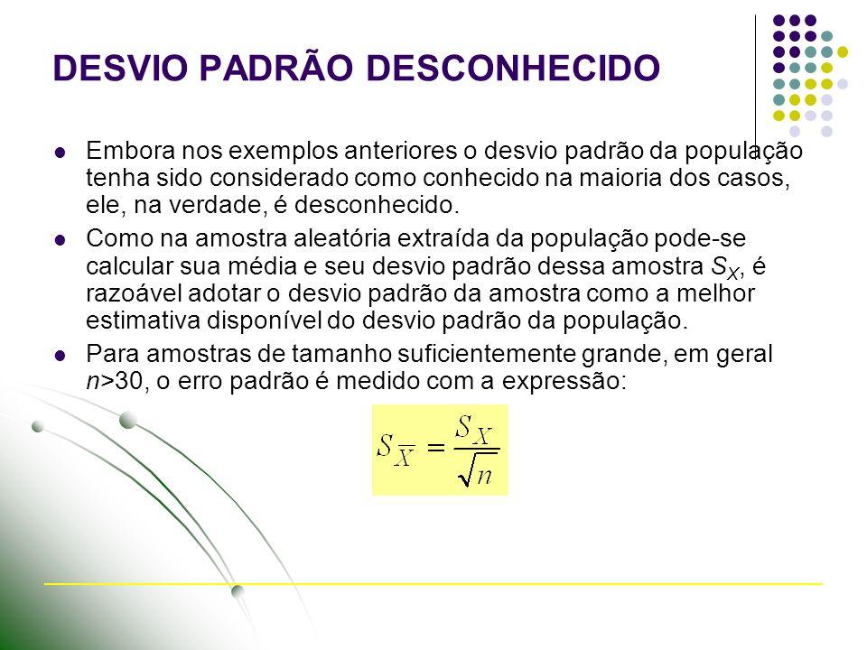 DESVIO PADRÃO DESCONHECIDO Embora nos exemplos anteriores o desvio padrão da população tenha sido considerado como conhecido na maioria dos casos, ele
