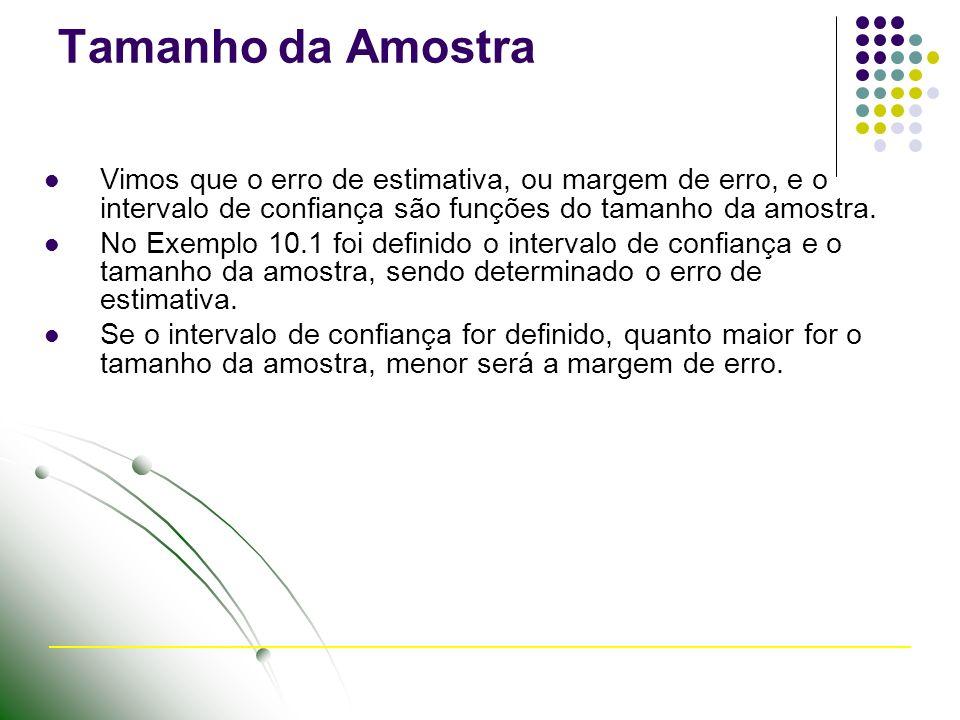 Tamanho da Amostra Vimos que o erro de estimativa, ou margem de erro, e o intervalo de confiança são funções do tamanho da amostra. No Exemplo 10.1 fo