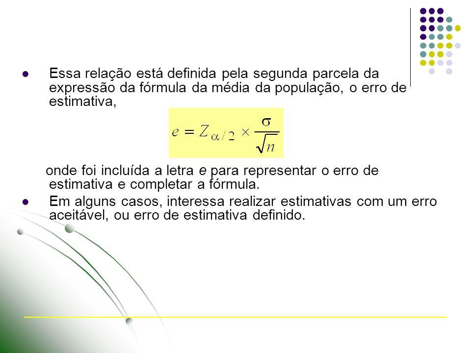 Essa relação está definida pela segunda parcela da expressão da fórmula da média da população, o erro de estimativa, onde foi incluída a letra e para