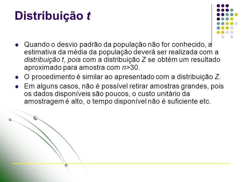 Distribuição t Quando o desvio padrão da população não for conhecido, a estimativa da média da população deverá ser realizada com a distribuição t, po