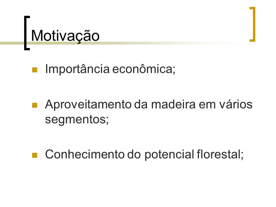 Motivação Importância econômica; Aproveitamento da madeira em vários segmentos; Conhecimento do potencial florestal;