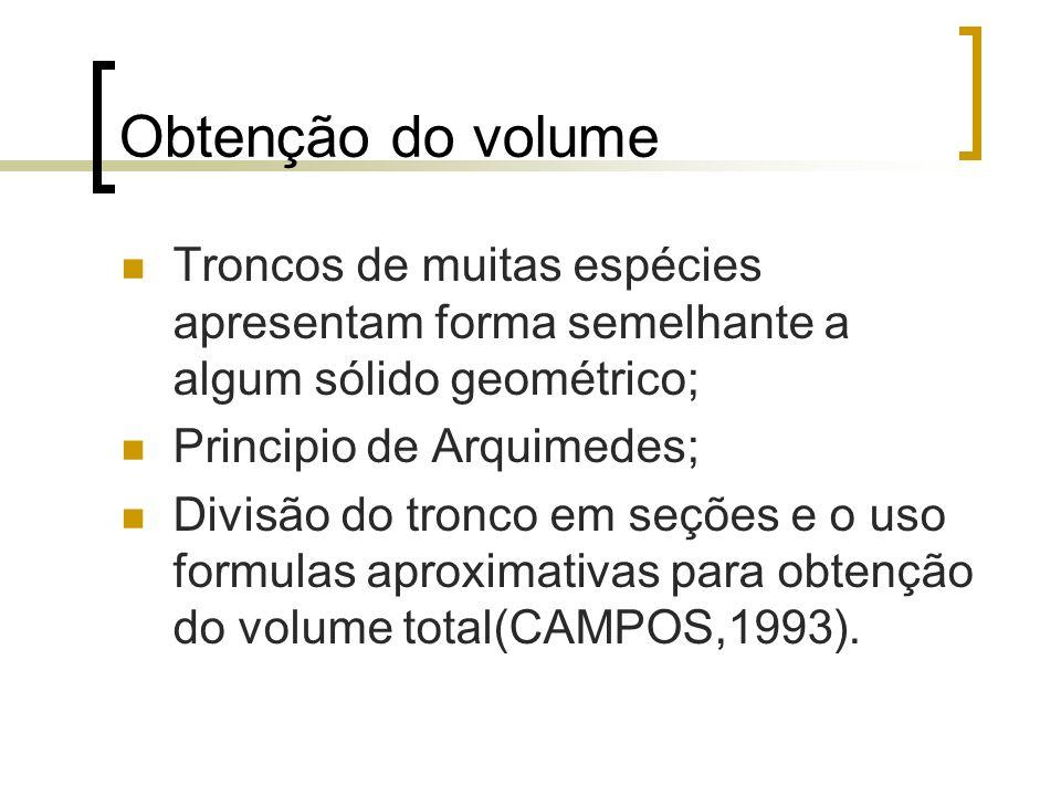 Obtenção do volume Troncos de muitas espécies apresentam forma semelhante a algum sólido geométrico; Principio de Arquimedes; Divisão do tronco em seç