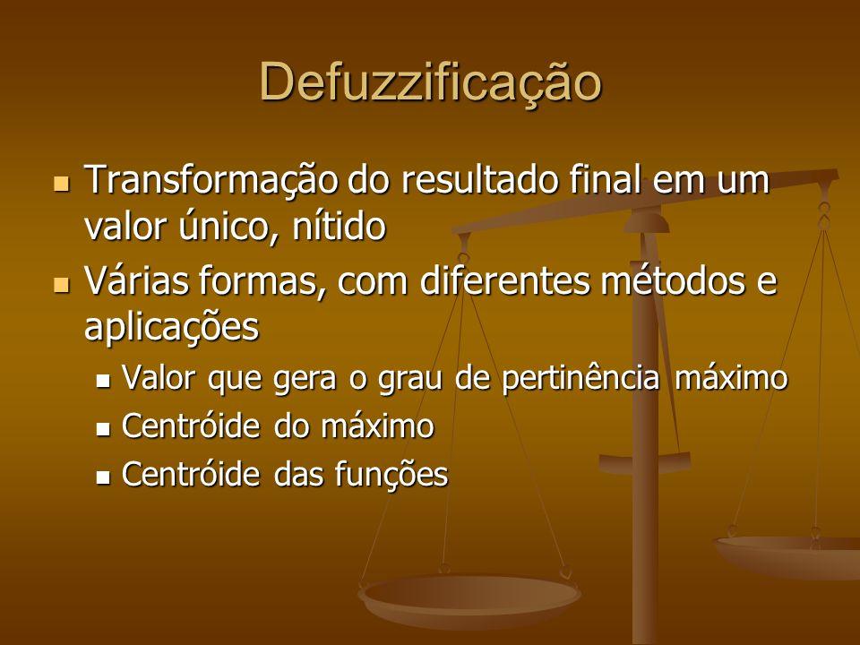 Defuzzificação Transformação do resultado final em um valor único, nítido Transformação do resultado final em um valor único, nítido Várias formas, co