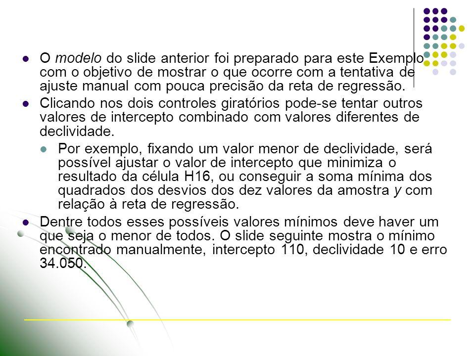 O modelo do slide anterior foi preparado para este Exemplo com o objetivo de mostrar o que ocorre com a tentativa de ajuste manual com pouca precisão da reta de regressão.
