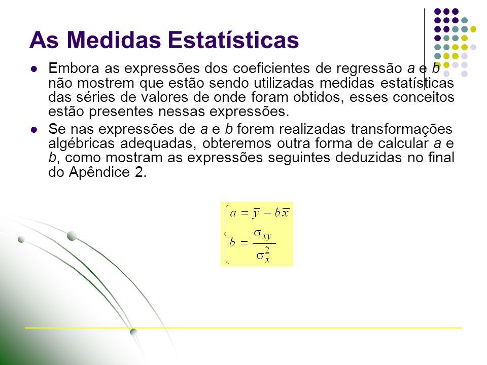 As Medidas Estatísticas Embora as expressões dos coeficientes de regressão a e b não mostrem que estão sendo utilizadas medidas estatísticas das séries de valores de onde foram obtidos, esses conceitos estão presentes nessas expressões.
