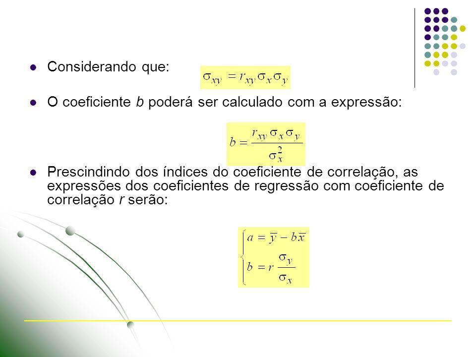 Considerando que: O coeficiente b poderá ser calculado com a expressão: Prescindindo dos índices do coeficiente de correlação, as expressões dos coeficientes de regressão com coeficiente de correlação r serão: