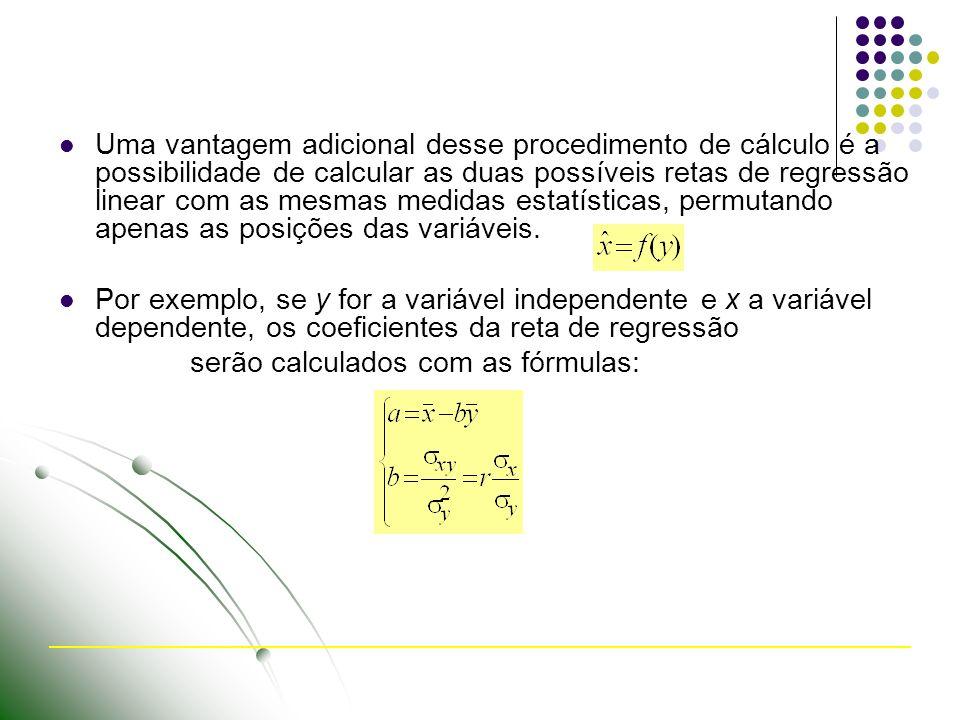 Uma vantagem adicional desse procedimento de cálculo é a possibilidade de calcular as duas possíveis retas de regressão linear com as mesmas medidas estatísticas, permutando apenas as posições das variáveis.