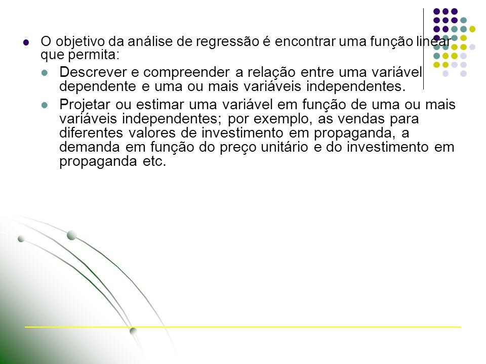 O objetivo da análise de regressão é encontrar uma função linear que permita: Descrever e compreender a relação entre uma variável dependente e uma ou mais variáveis independentes.