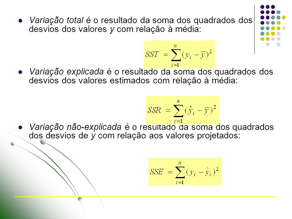 Variação total é o resultado da soma dos quadrados dos desvios dos valores y com relação à média: Variação explicada é o resultado da soma dos quadrados dos desvios dos valores estimados com relação à média: Variação não-explicada é o resultado da soma dos quadrados dos desvios de y com relação aos valores projetados: