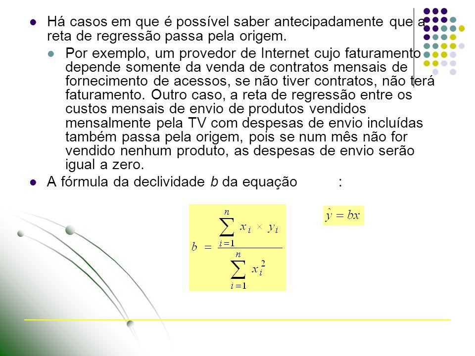 Há casos em que é possível saber antecipadamente que a reta de regressão passa pela origem.