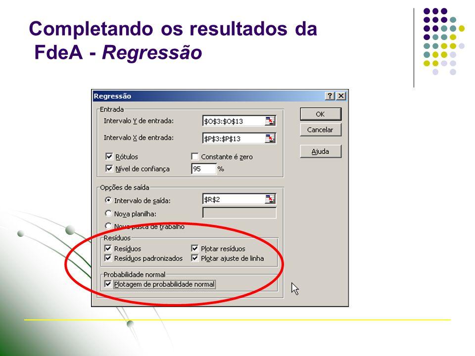 Completando os resultados da FdeA - Regressão