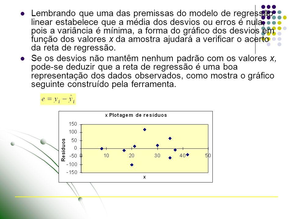 Lembrando que uma das premissas do modelo de regressão linear estabelece que a média dos desvios ou erros é nula, pois a variância é mínima, a forma do gráfico dos desvios em função dos valores x da amostra ajudará a verificar o acerto da reta de regressão.