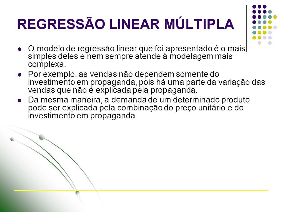 REGRESSÃO LINEAR MÚLTIPLA O modelo de regressão linear que foi apresentado é o mais simples deles e nem sempre atende à modelagem mais complexa.