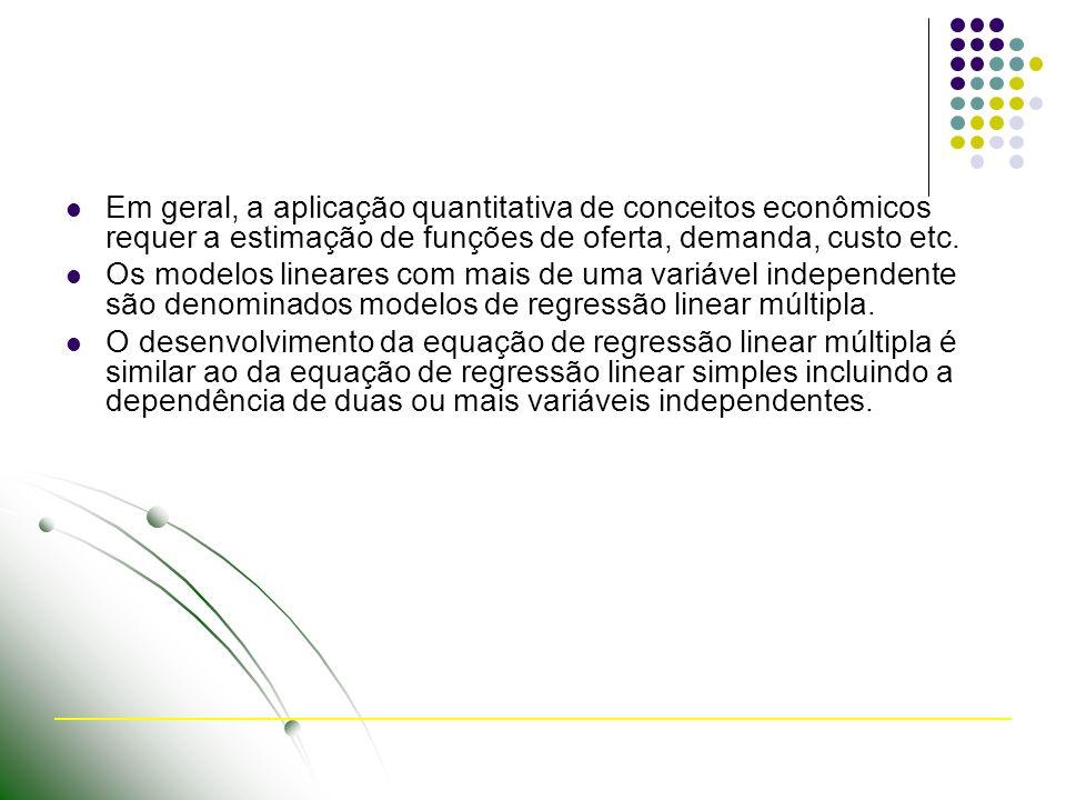 Em geral, a aplicação quantitativa de conceitos econômicos requer a estimação de funções de oferta, demanda, custo etc.