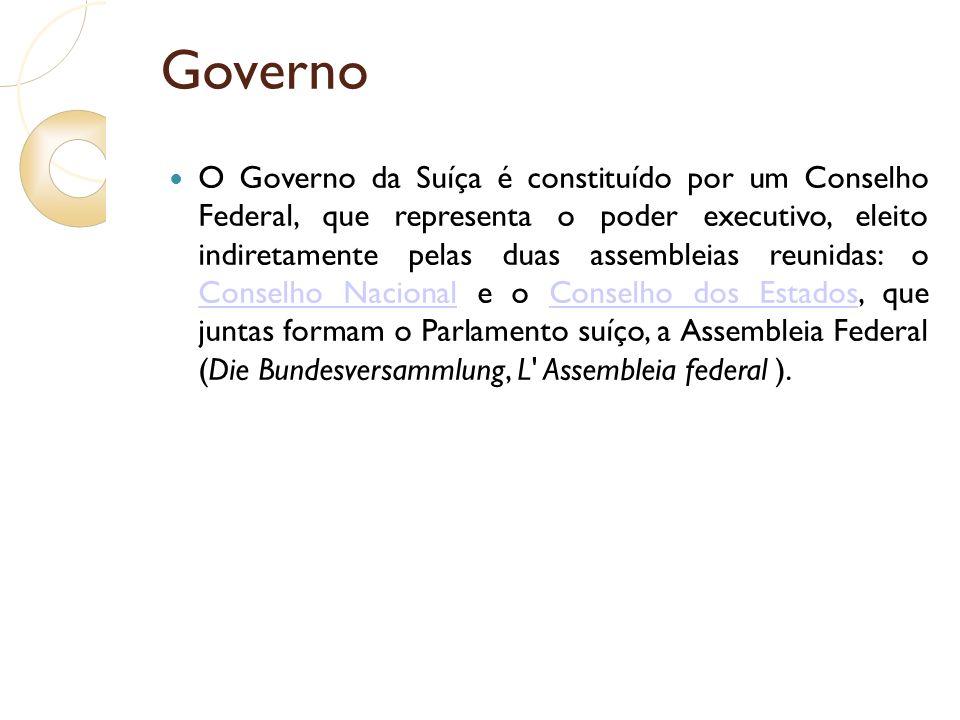 Governo O Governo da Suíça é constituído por um Conselho Federal, que representa o poder executivo, eleito indiretamente pelas duas assembleias reunid