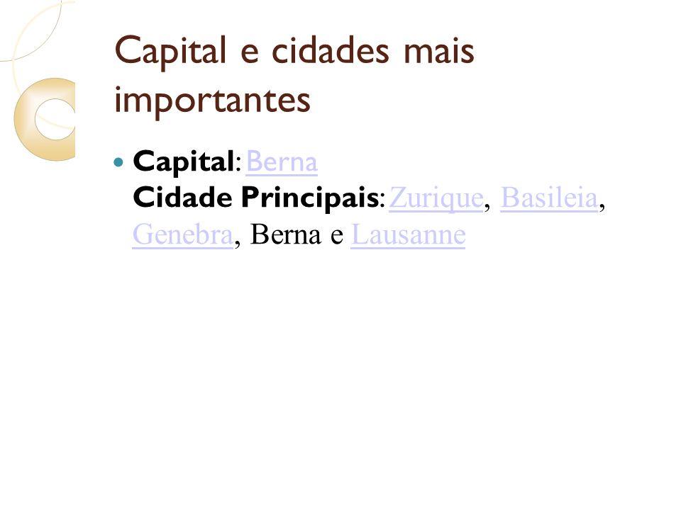 Capital e cidades mais importantes Capital: Berna Cidade Principais: Zurique, Basileia, Genebra, Berna e LausanneBerna ZuriqueBasileia GenebraLausanne