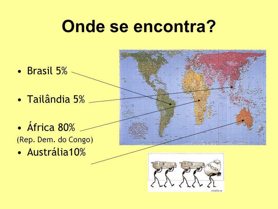 Onde se encontra? Brasil 5% Tailândia 5% África 80% (Rep. Dem. do Congo) Austrália10%