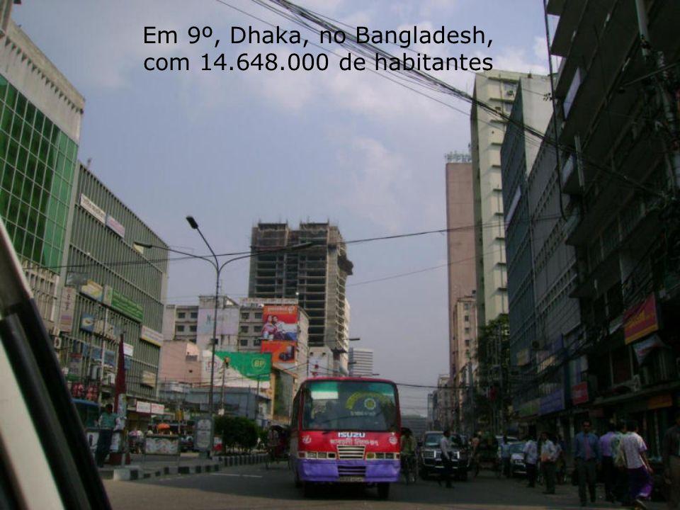 Em 9º, Dhaka, no Bangladesh, com 14.648.000 de habitantes