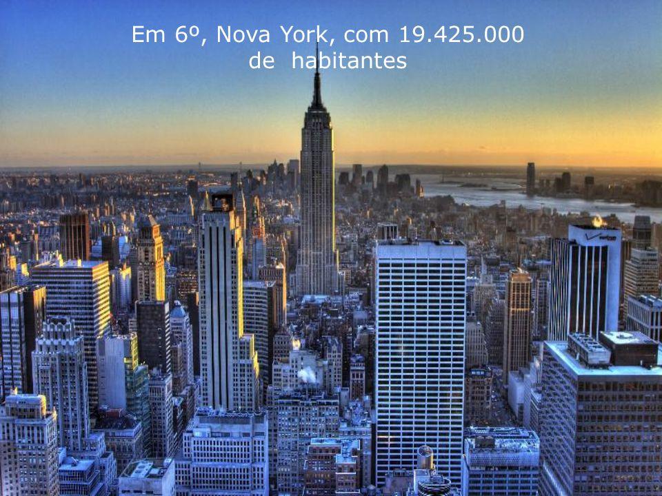 Em 6º, Nova York, com 19.425.000 de habitantes