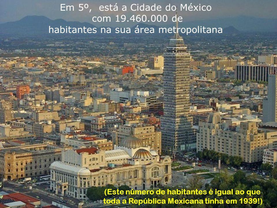 Em 5º, está a Cidade do México com 19.460.000 de habitantes na sua área metropolitana (Este número de habitantes é igual ao que toda a República Mexicana tinha em 1939!)