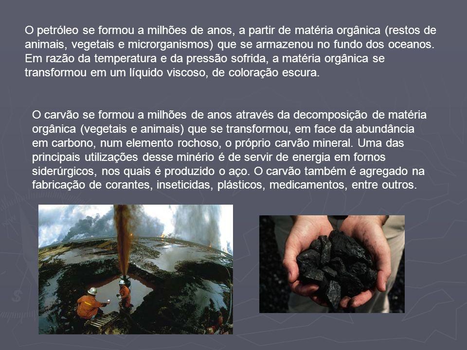 O petróleo se formou a milhões de anos, a partir de matéria orgânica (restos de animais, vegetais e microrganismos) que se armazenou no fundo dos ocea