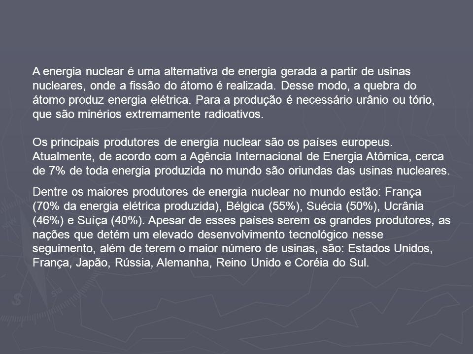 A energia nuclear é uma alternativa de energia gerada a partir de usinas nucleares, onde a fissão do átomo é realizada. Desse modo, a quebra do átomo