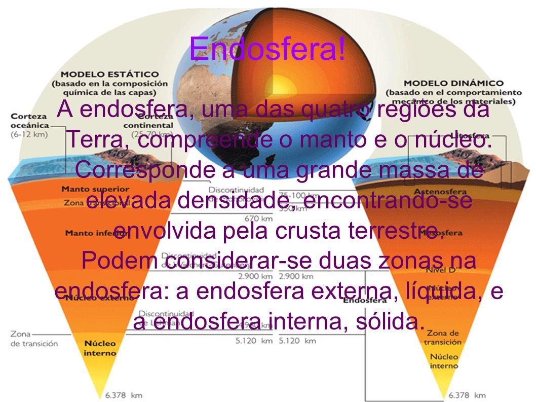 Endosfera! A endosfera, uma das quatro regiões da Terra, compreende o manto e o núcleo. Corresponde a uma grande massa de elevada densidade, encontran