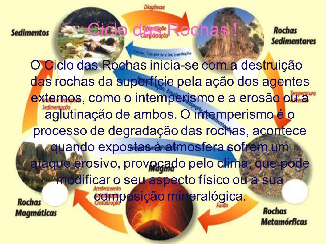 Ciclo das Rochas ! O Ciclo das Rochas inicia-se com a destruição das rochas da superfície pela ação dos agentes externos, como o intemperismo e a eros