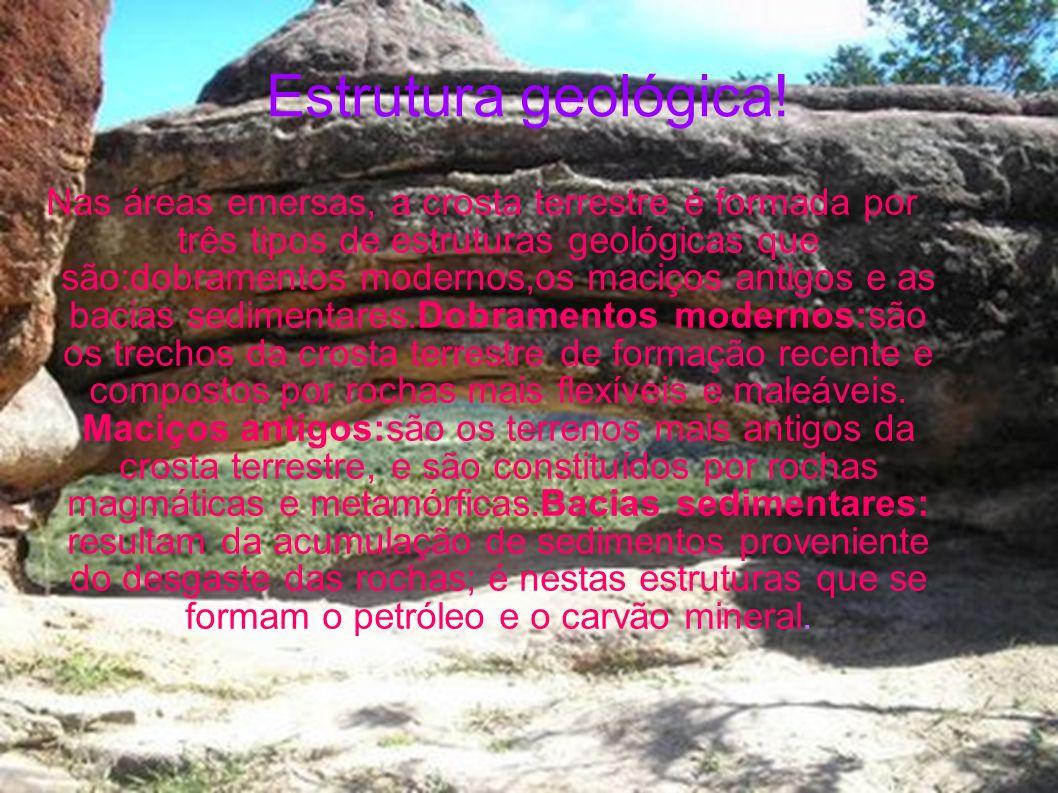 Estrutura geológica! Nas áreas emersas, a crosta terrestre é formada por três tipos de estruturas geológicas que são:dobramentos modernos,os maciços a