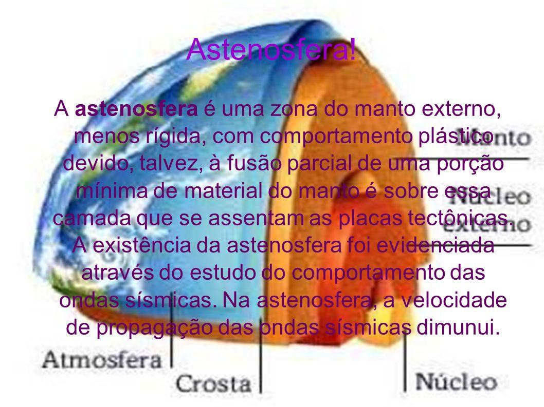 Astenosfera! A astenosfera é uma zona do manto externo, menos rígida, com comportamento plástico devido, talvez, à fusão parcial de uma porção mínima