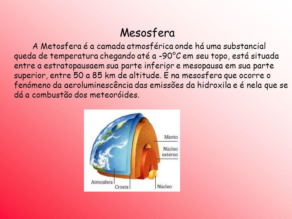 Mesosfera A Metosfera é a camada atmosférica onde há uma substancial queda de temperatura chegando até a -90°C em seu topo, está situada entre a estra