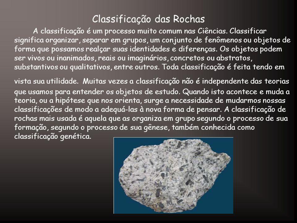 Classificação das Rochas A classificação é um processo muito comum nas Ciências. Classificar significa organizar, separar em grupos, um conjunto de fe