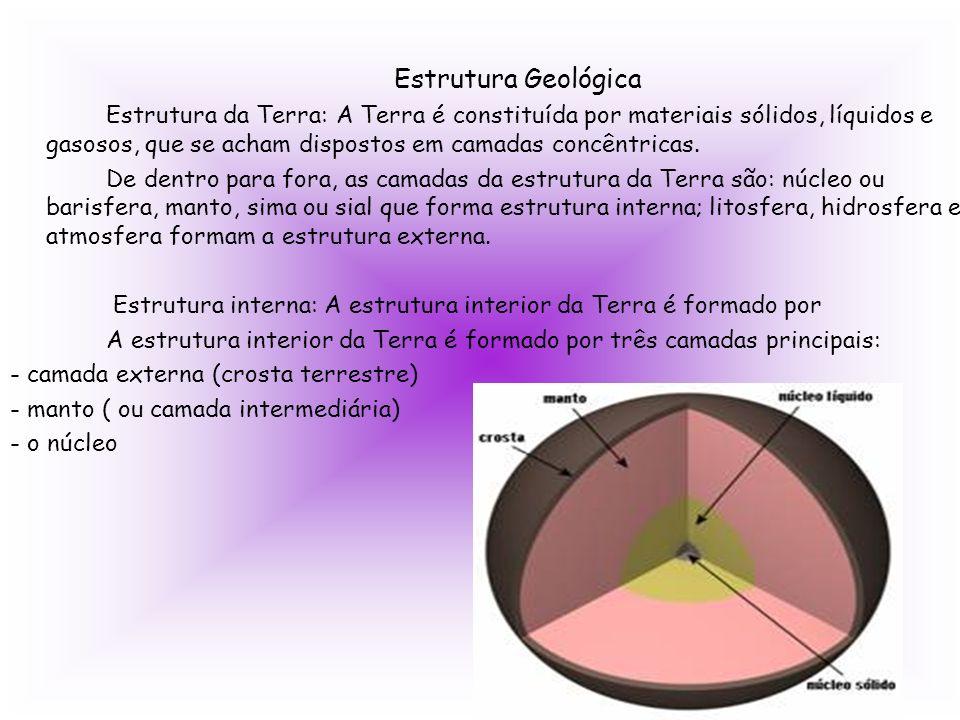 Estrutura Geológica Estrutura da Terra: A Terra é constituída por materiais sólidos, líquidos e gasosos, que se acham dispostos em camadas concêntrica