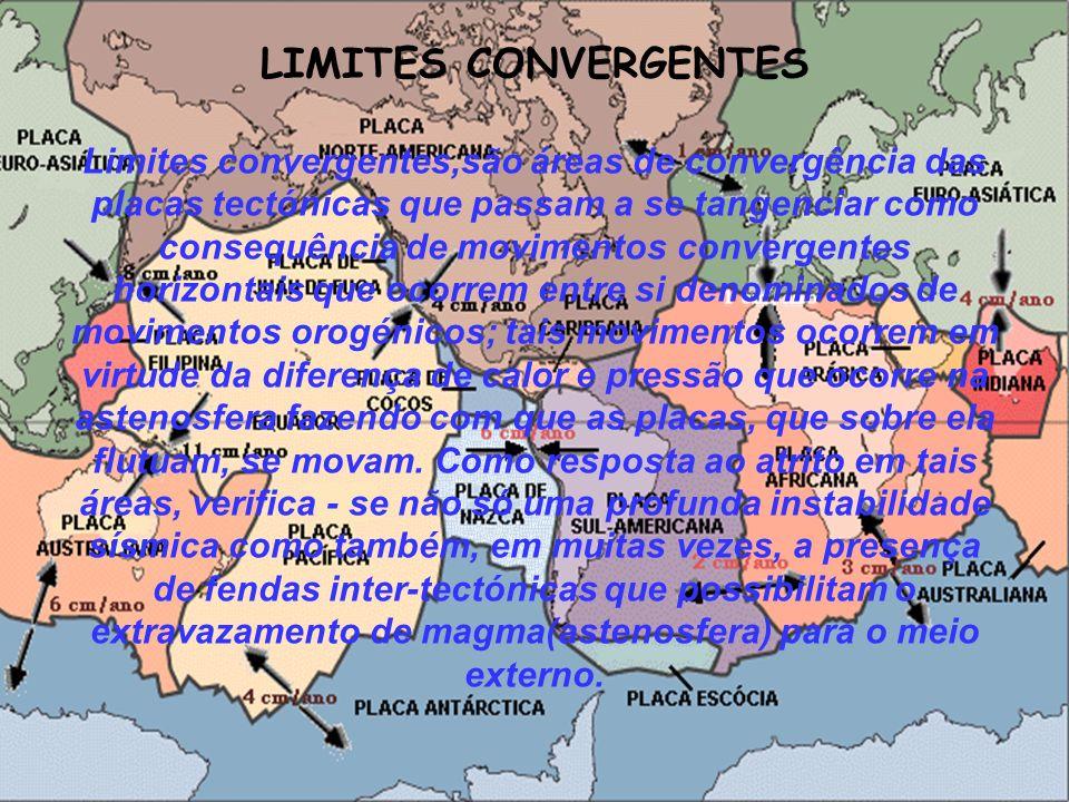 LIMITES CONVERGENTES Limites convergentes,são áreas de convergência das placas tectónicas que passam a se tangenciar como consequência de movimentos c
