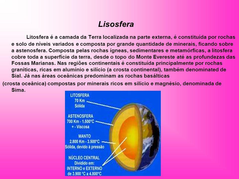 Lisosfera Litosfera é a camada da Terra localizada na parte externa, é constituída por rochas e solo de níveis variados e composta por grande quantida