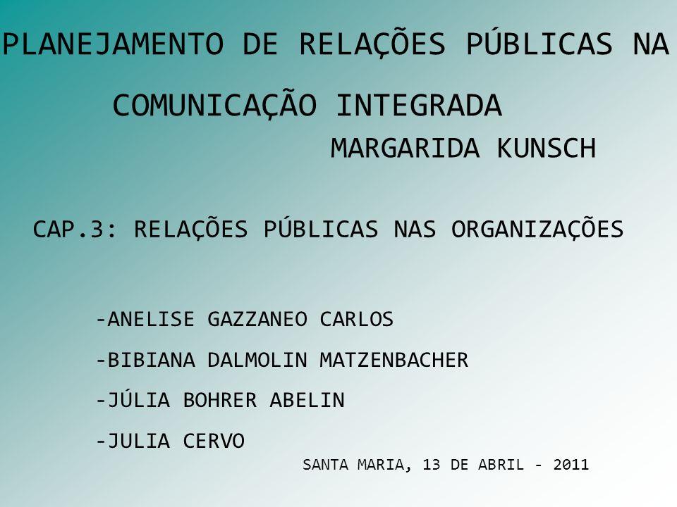 CAP.3: RELAÇÕES PÚBLICAS NAS ORGANIZAÇÕES MARGARIDA KUNSCH -ANELISE GAZZANEO CARLOS -BIBIANA DALMOLIN MATZENBACHER -JÚLIA BOHRER ABELIN -JULIA CERVO S