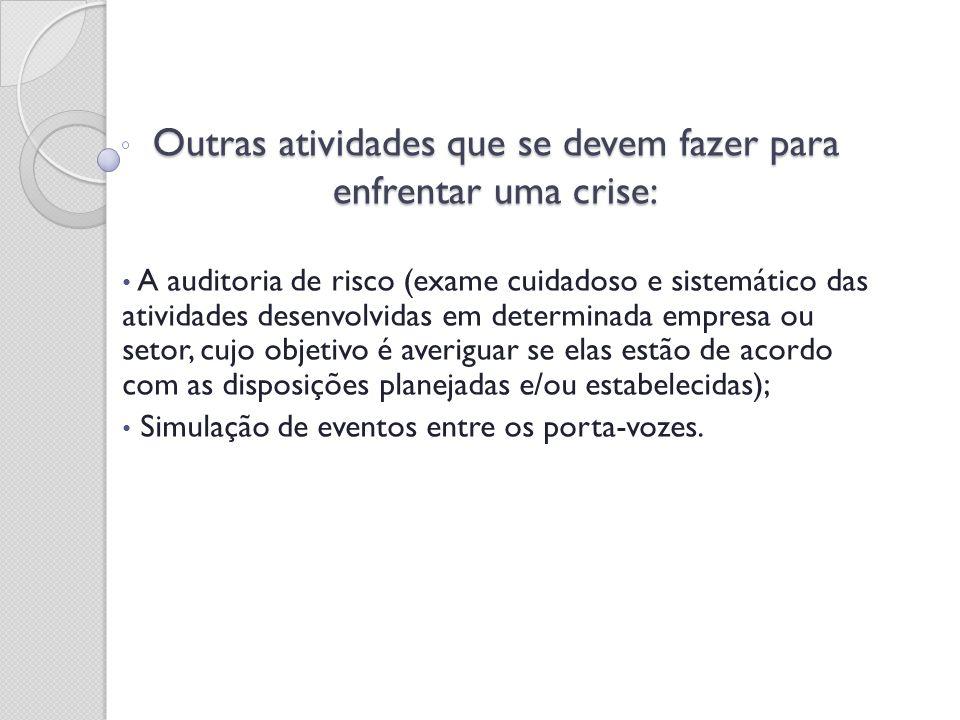 Outras atividades que se devem fazer para enfrentar uma crise: A auditoria de risco (exame cuidadoso e sistemático das atividades desenvolvidas em det