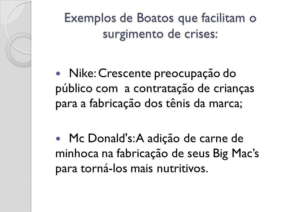 Exemplos de Boatos que facilitam o surgimento de crises: Nike: Crescente preocupação do público com a contratação de crianças para a fabricação dos tê