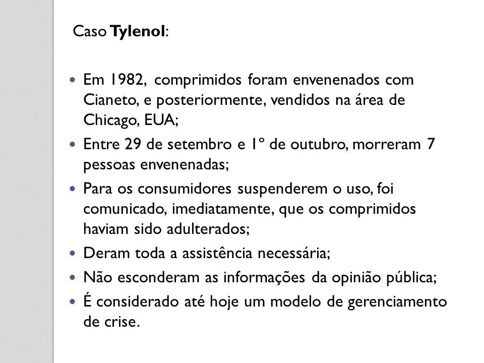 Caso Tylenol: Em 1982, comprimidos foram envenenados com Cianeto, e posteriormente, vendidos na área de Chicago, EUA; Entre 29 de setembro e 1º de out