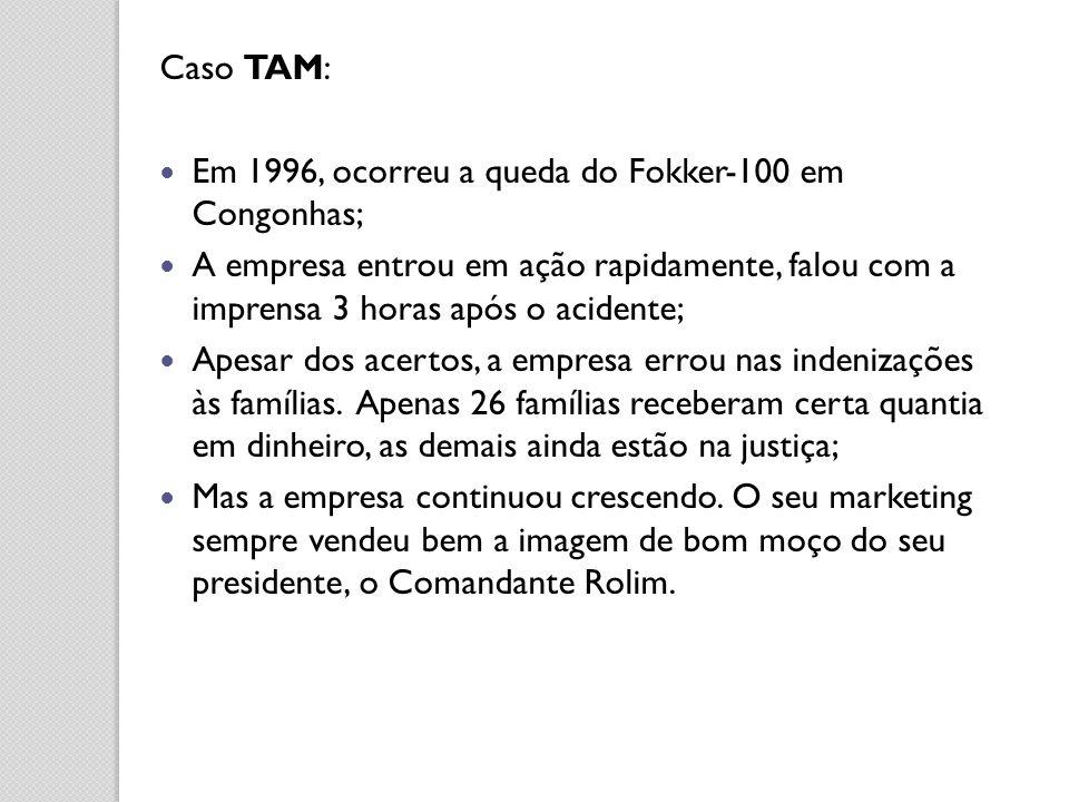 Caso TAM: Em 1996, ocorreu a queda do Fokker-100 em Congonhas; A empresa entrou em ação rapidamente, falou com a imprensa 3 horas após o acidente; Ape