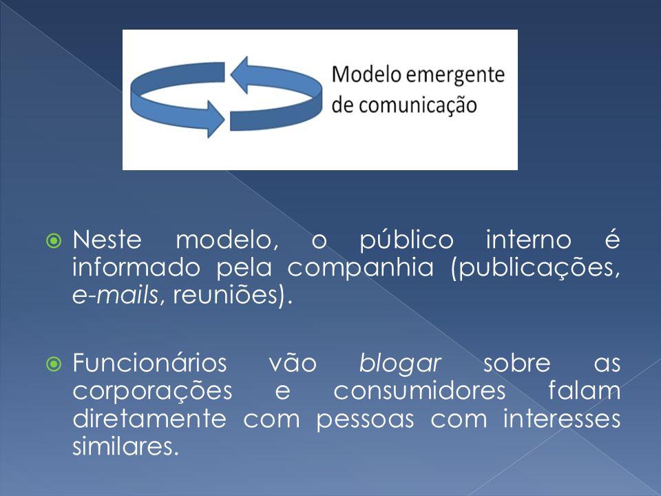 Neste modelo, o público interno é informado pela companhia (publicações, e-mails, reuniões). Funcionários vão blogar sobre as corporações e consumidor