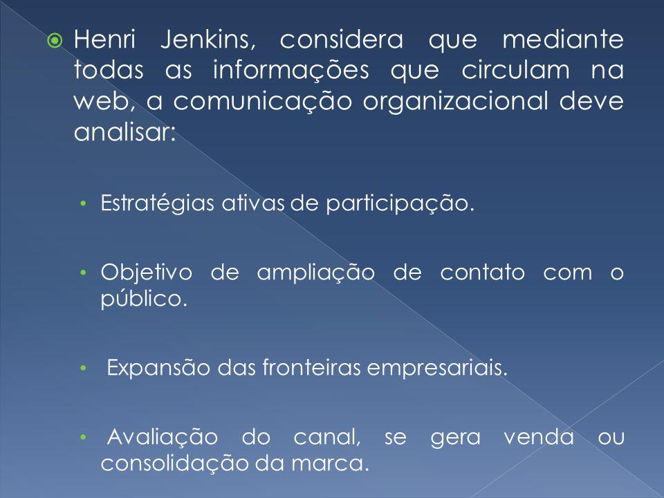 Henri Jenkins, considera que mediante todas as informações que circulam na web, a comunicação organizacional deve analisar: Estratégias ativas de part