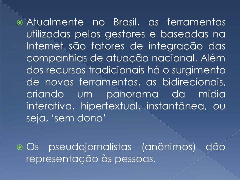 Atualmente no Brasil, as ferramentas utilizadas pelos gestores e baseadas na Internet são fatores de integração das companhias de atuação nacional. Al