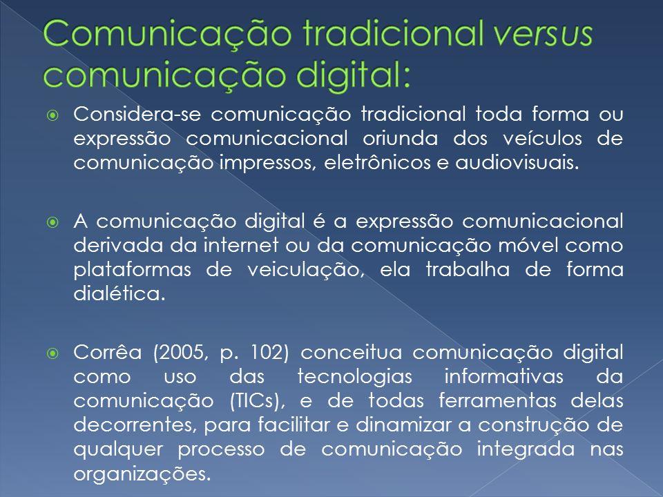 Considera-se comunicação tradicional toda forma ou expressão comunicacional oriunda dos veículos de comunicação impressos, eletrônicos e audiovisuais.