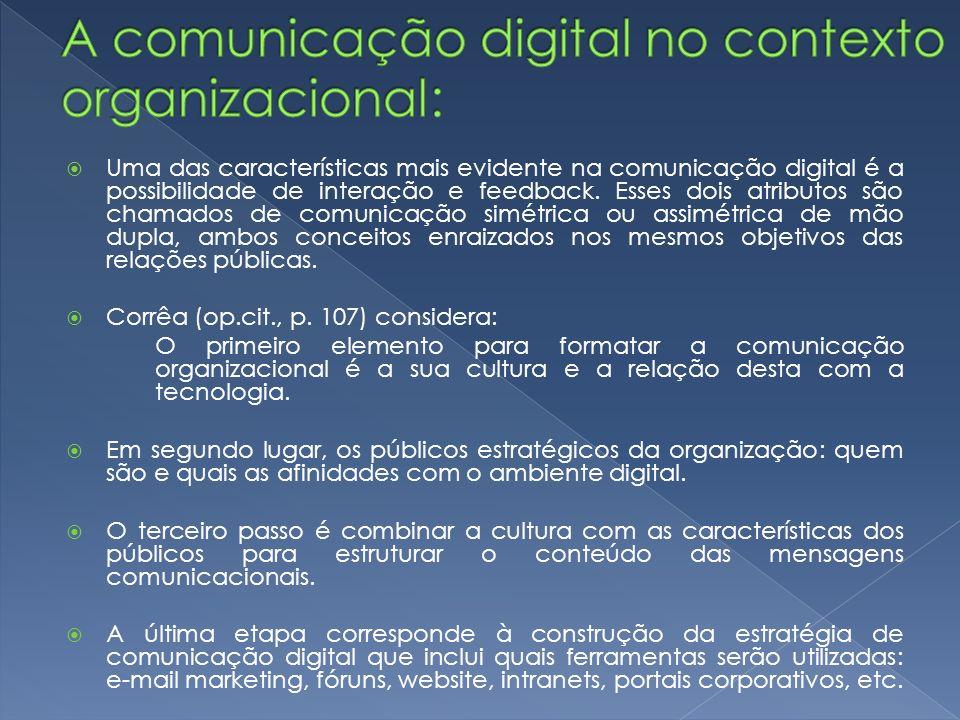 Uma das características mais evidente na comunicação digital é a possibilidade de interação e feedback. Esses dois atributos são chamados de comunicaç